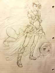 Valkyrie Cure Rhythm Sketch by Aijihi