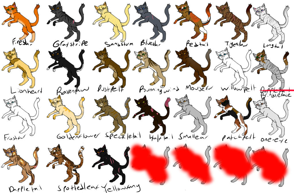 Warrior Reference Sheet -Thunderclan Into The Wild by Lardcat2000 on ...