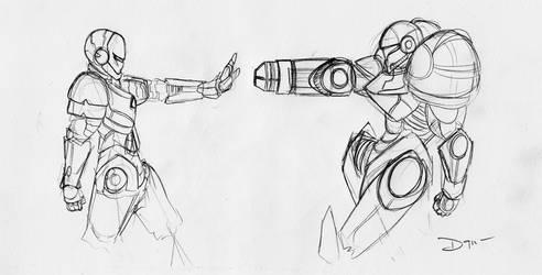 Samus Aran VS Ironman by DragonZ911