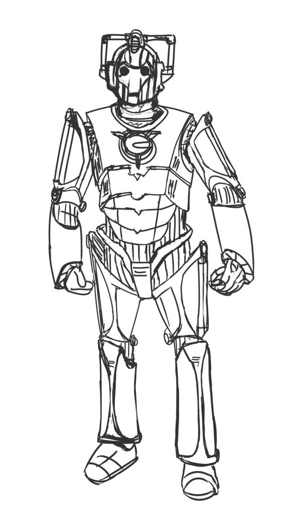 Line Art Layer : Cyberman sketch layer by jinkies on deviantart