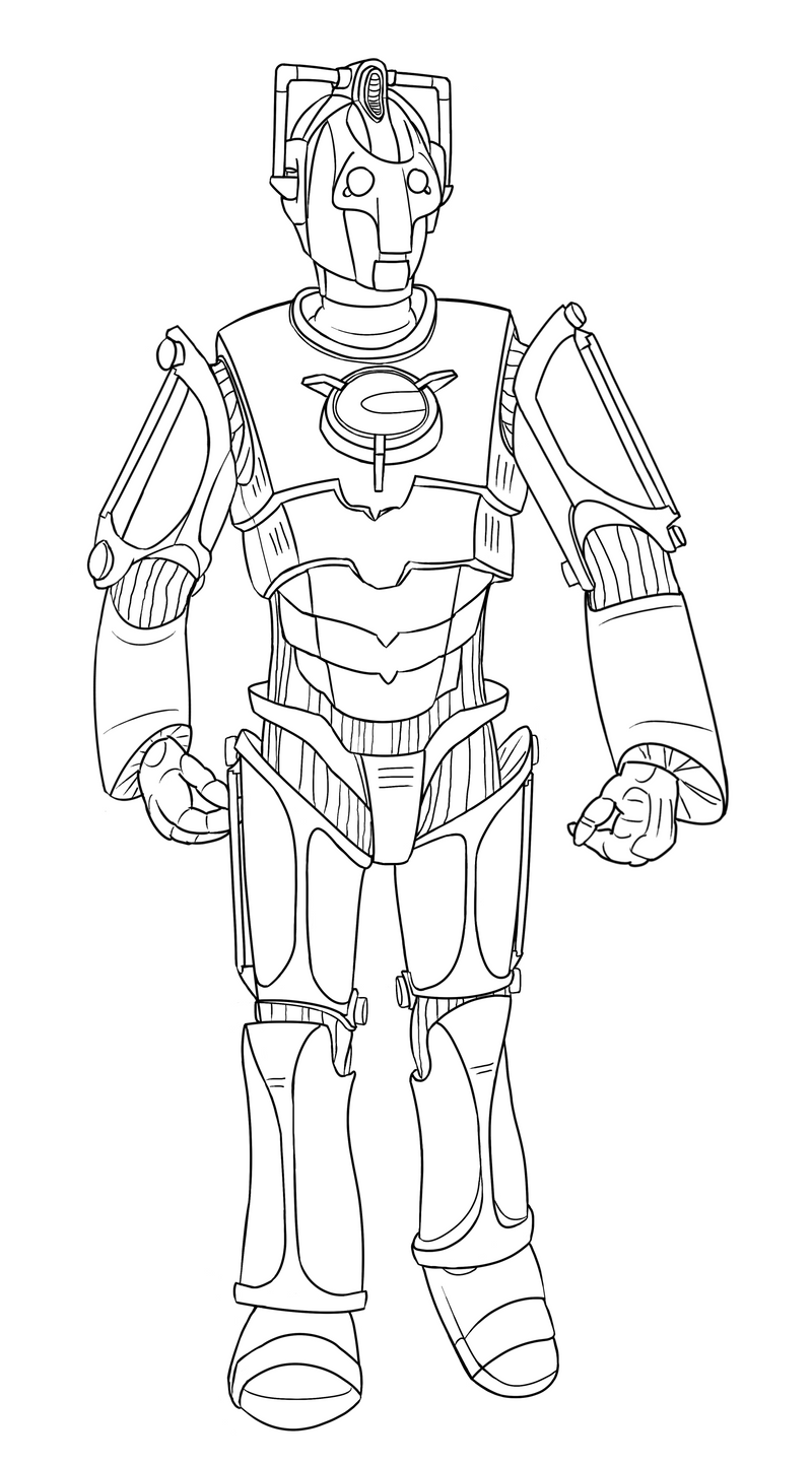 doctor who coloring page - colour your own cyberman by jinkies36 on deviantart