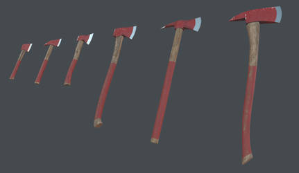 Fire axes lowpoly game asset