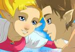 Zelda and Link - Falling