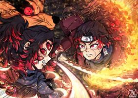 Kokushibo VS Yoriichi (NARUTO X KNY CROSSOVER) by zerucheese