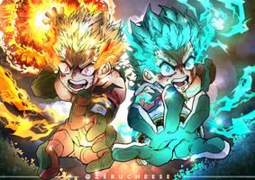 Bakugou and Deku Heroes Rising by zerucheese