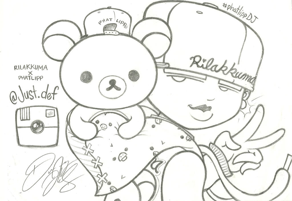 Justdef rilakkuma meets dj fanart by justd3f on deviantart for Rilakkuma coloring pages