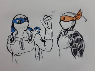 Saitama-Leo and Mikey-Genos sketch