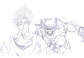 Goku (DBZ) and Wolverine (X-Men) Sketch by leozer