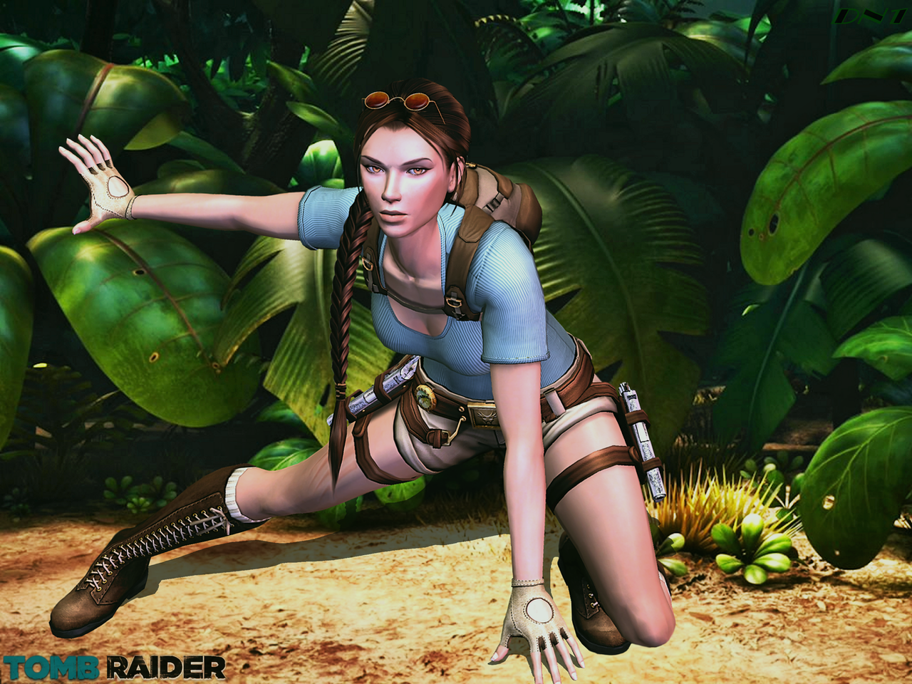 XNALara: Lara's Soft Landing Pose-Jungle View by Krypto4CatSuits