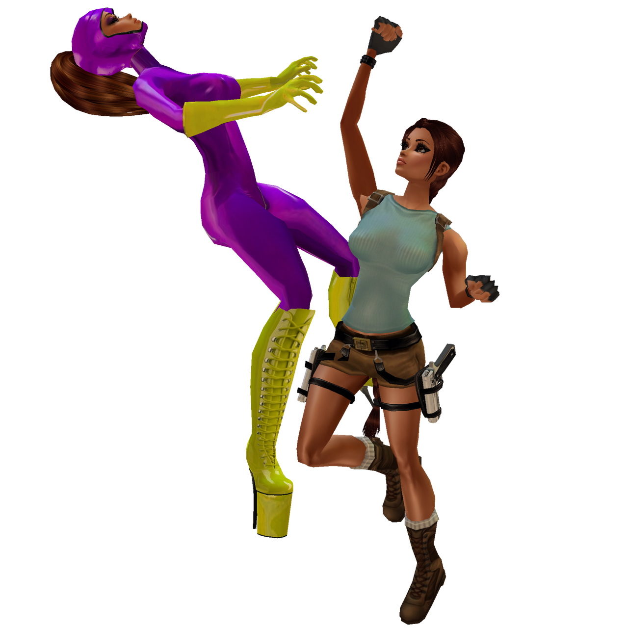 Purple Vixen Vs Lara Croft: W.I.P. Unedit PreView by LaraLuvsMe