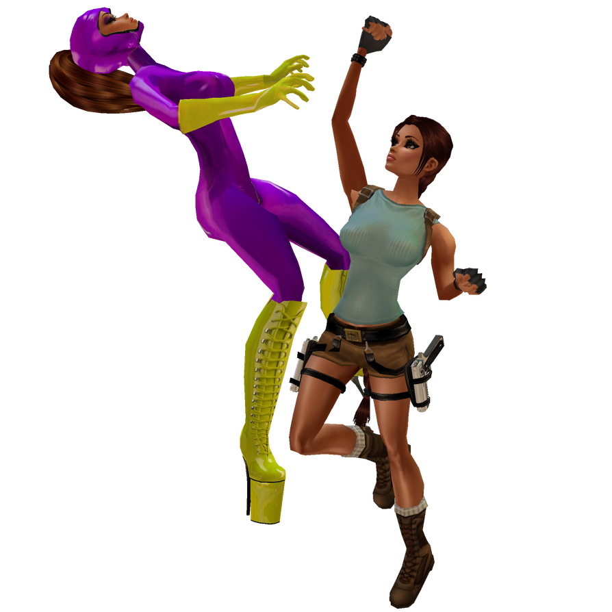Purple Vixen Vs Lara Croft: W.I.P. Unedit PreView by iRawr4Lara