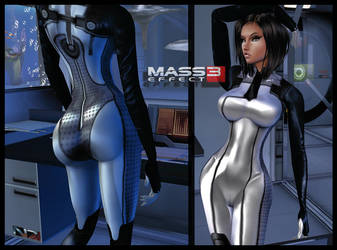 ME3: Illusive Man-Infiltrator_Dr.Eva_CatSuit :3 by LaraWearsCatsuits
