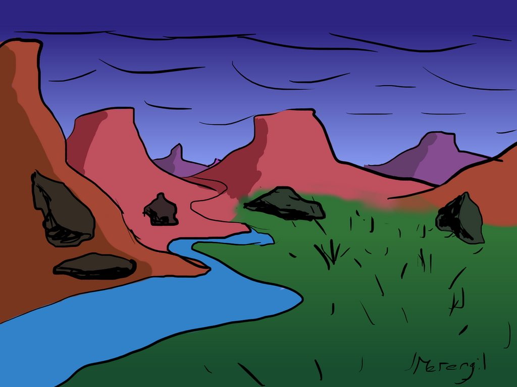 Random Landscape #1 - 30-min speeddrawing by Merengil