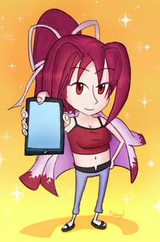 Yuzuriha showing her smartphone