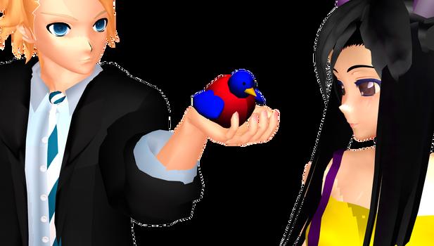 MMD Richard gives Kamia a bird