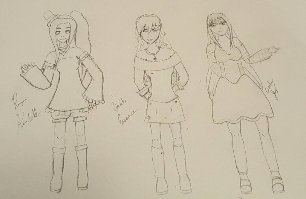 Rayna, Yuuki, Caroline - UTAUloids by mbarnesMMD
