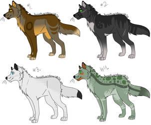 4 Wolf Adoptables-OPEN by KurnalBushyBrows