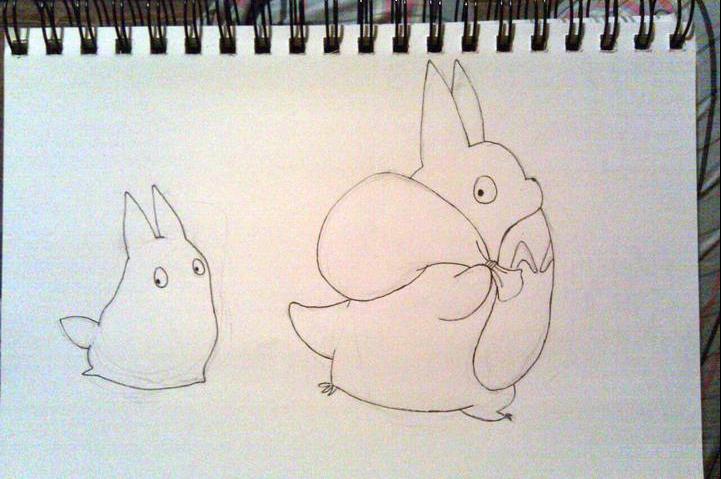Chibi and Chu Totoro sketch by Shlii
