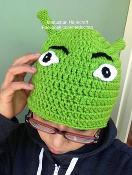 Shrek inspired hand crochet beanie
