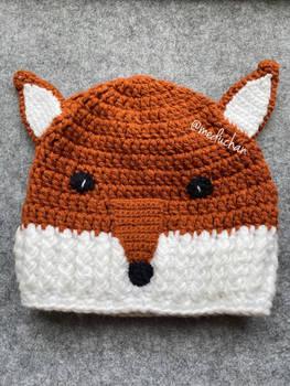 Hand crochet fox beanie