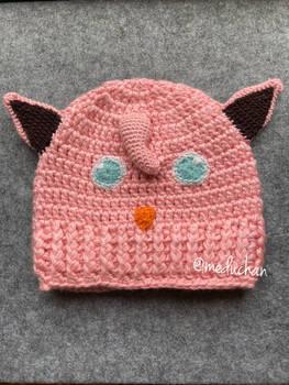 Pokemon inspired Jigglypuff hand crochet beanie