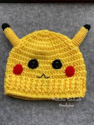 Pokemon inspired Pikachu hand crochet beanie