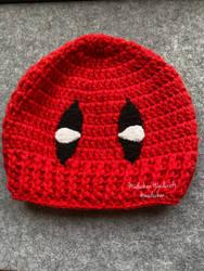 Deadpool inspired hand crochet beanie