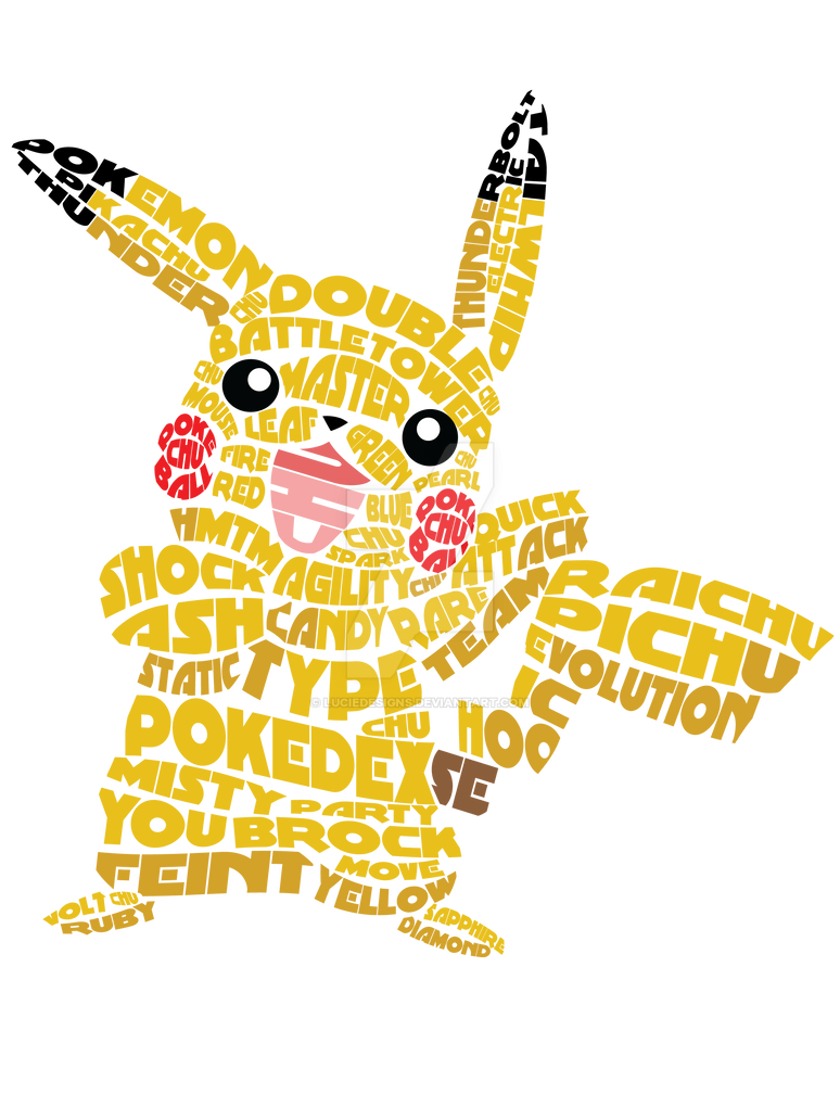 Pikachu Text Tee by LucieDesigns