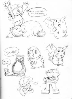 sketches Pokemon and Numbah 4