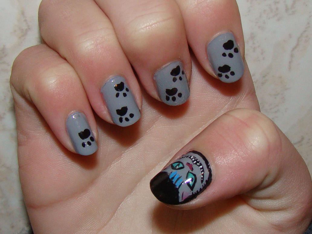 Cheshire Cat Nail Art by whosherlokid