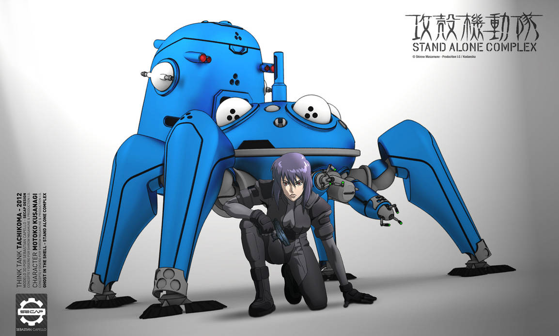 G.I.T.S Tachikoma and Motoko - TOON STYLE 3D -