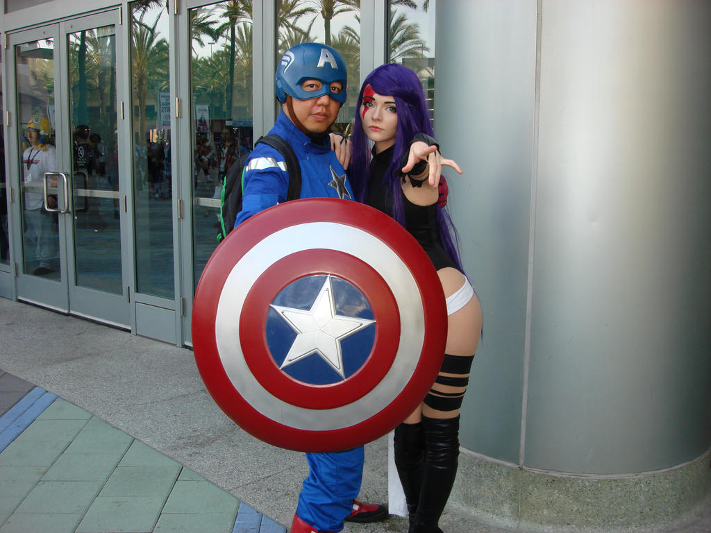 Captain America and Psylocke by cablex452