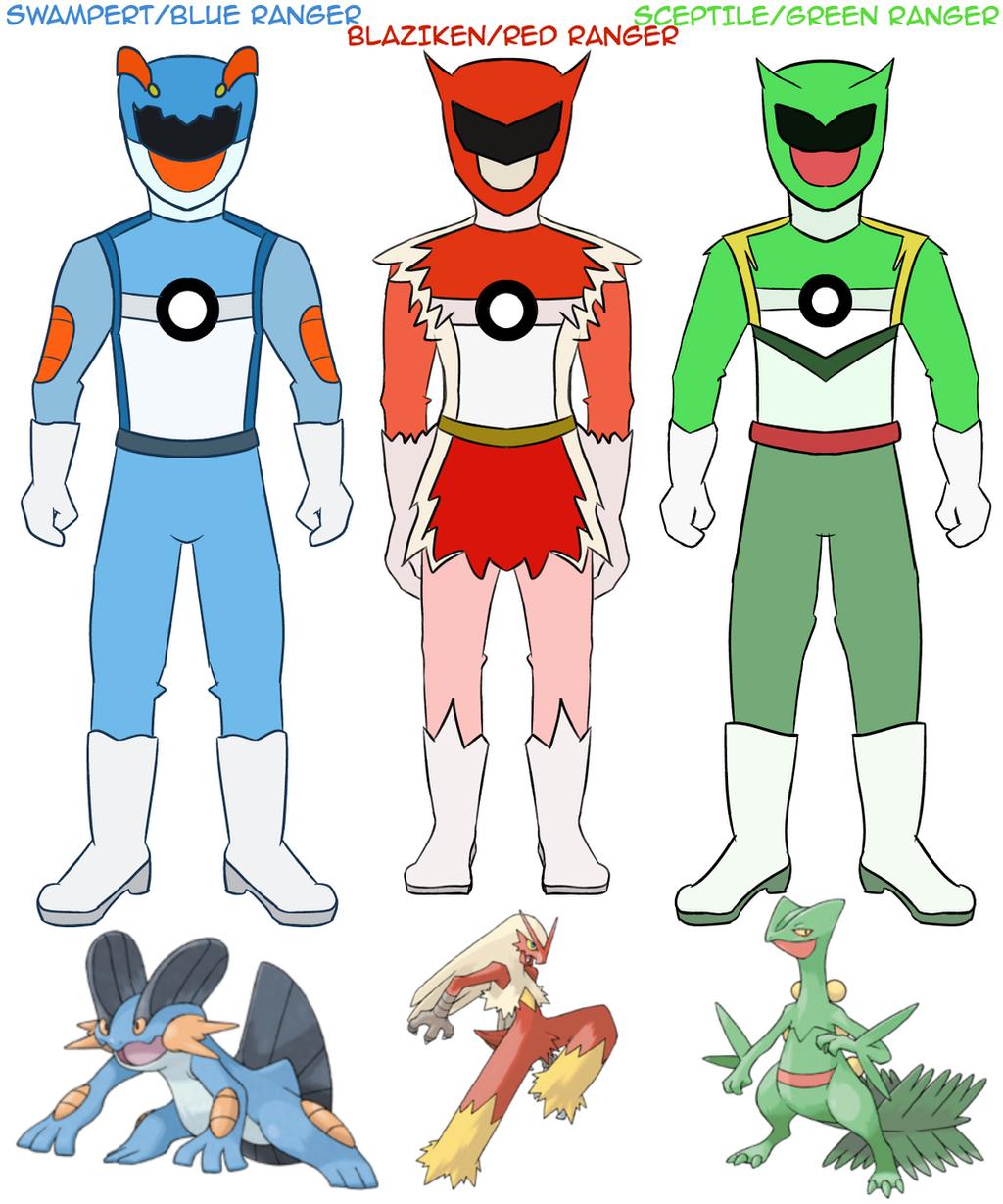 poke sentai pokemon rangers hoenn starters by coddry