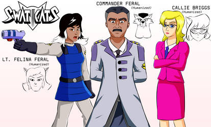 SWAT Kats Humanized: Feral, Callie, and Felina by coDDRy