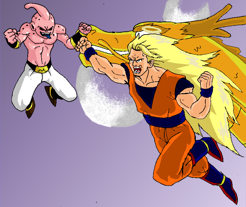 ss3 goku vs kid buu by captain77 on deviantart