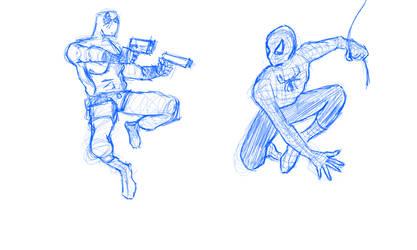Deadpool Vs. Spiderman by stendelll09