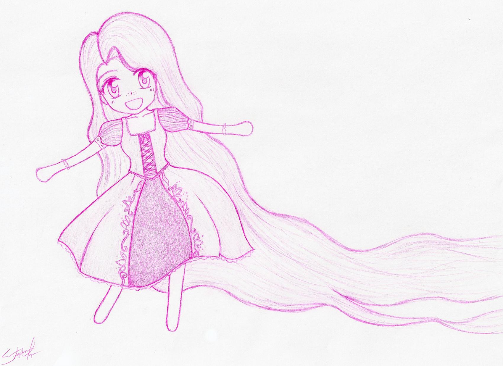 Chibi Rapunzel sketch by BklynSharkExpert