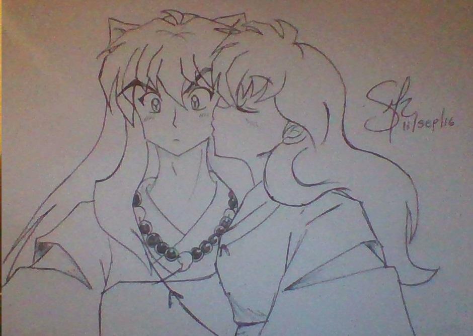 Inuyasha and Kagome Kiss by monik13inu