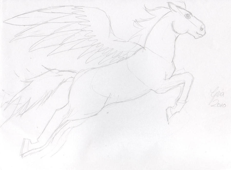 how to draw flying horse
