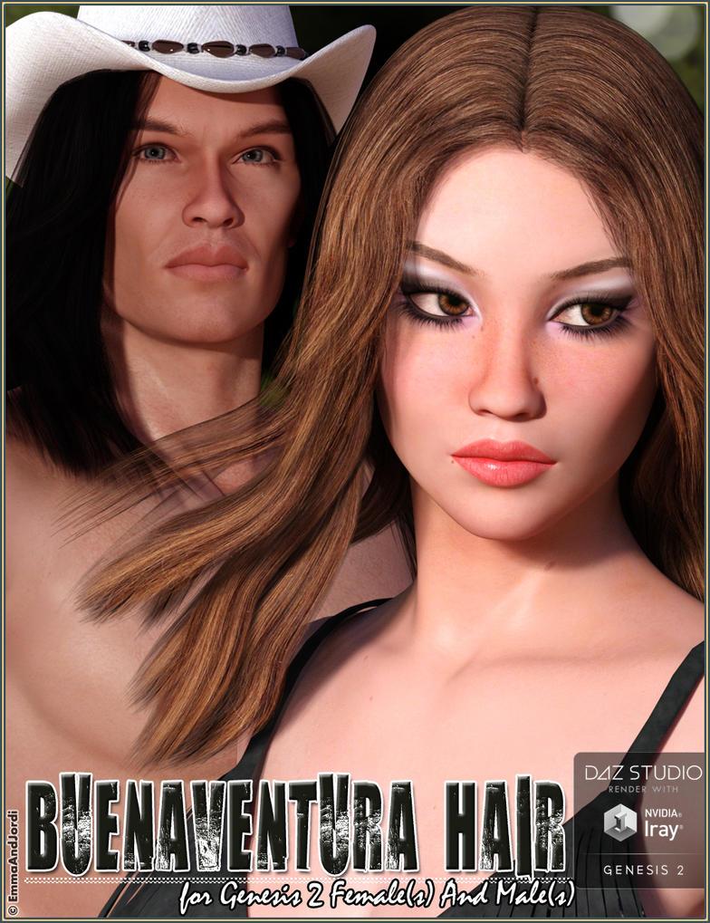 Buenaventura Hair For Genesis 2 Females And Males by emmaalvarez