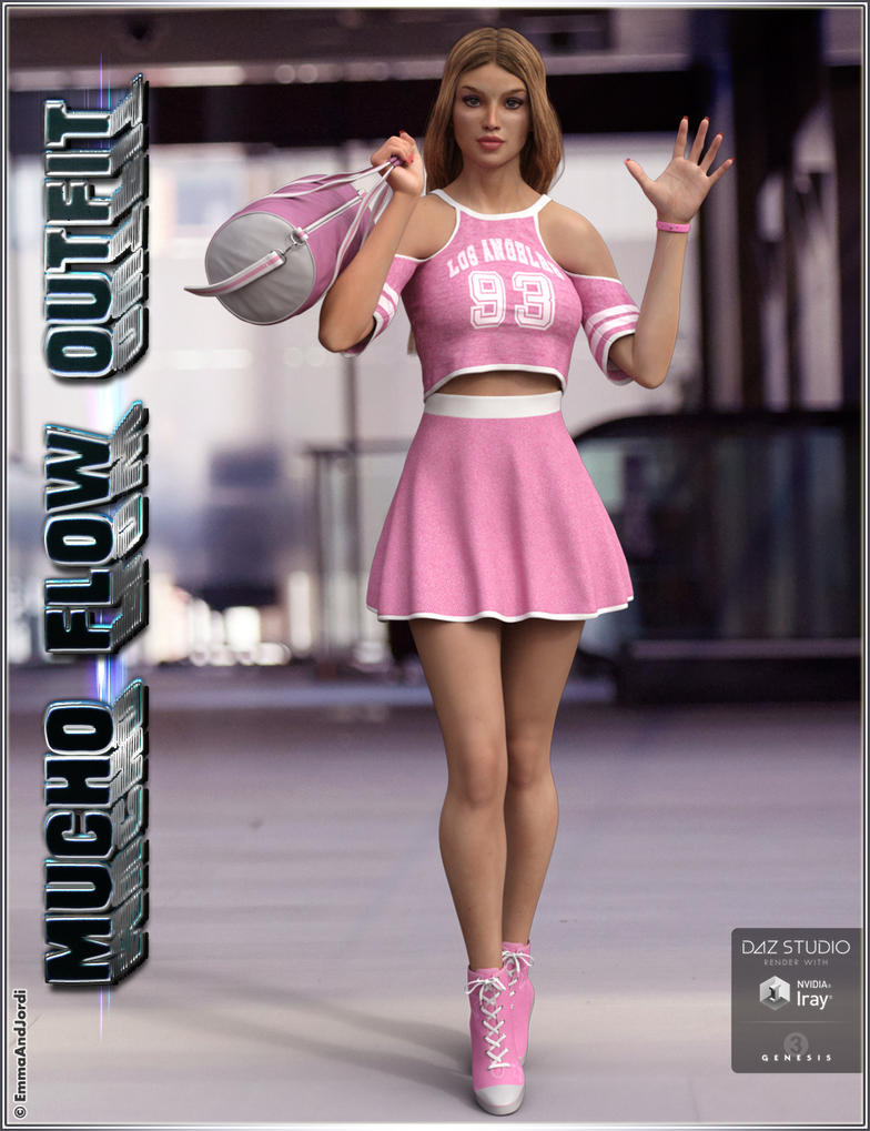 Mucho Flow Outfit and Accessories for Genesis 3 by emmaalvarez