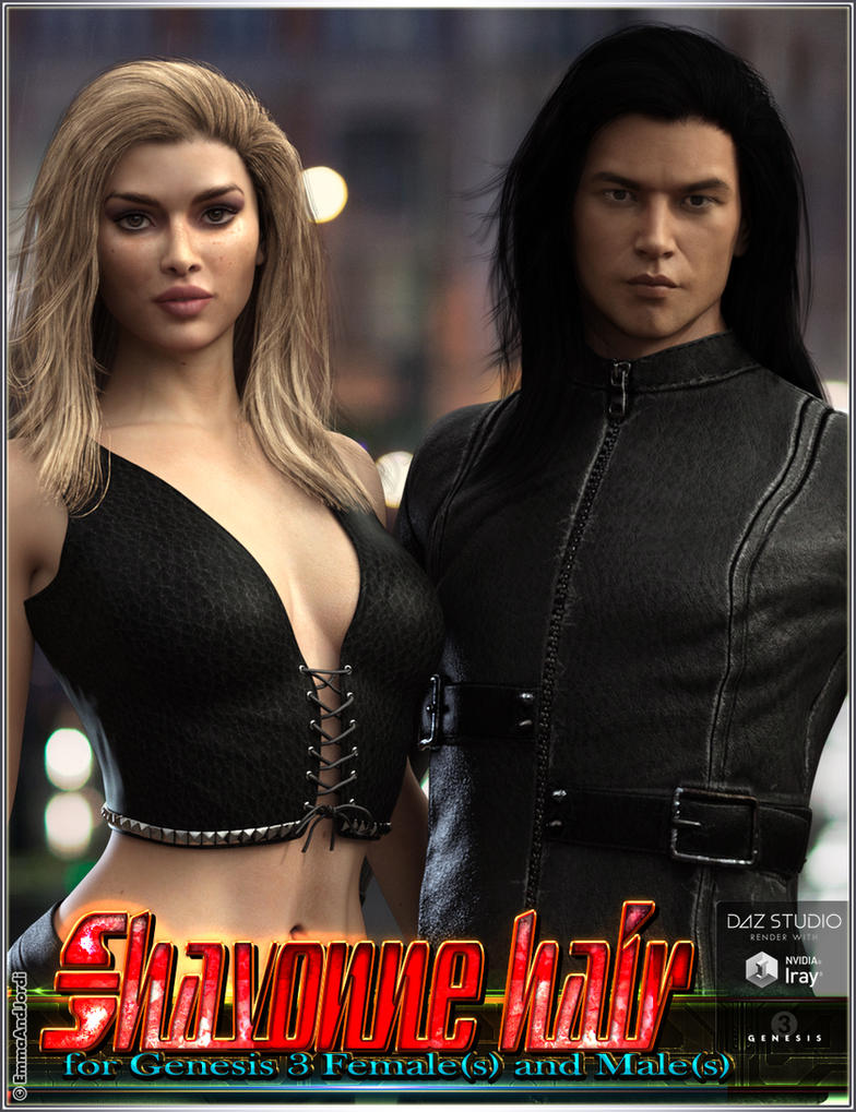 Shavonne Hair for Genesis 3 Females and Males by emmaalvarez