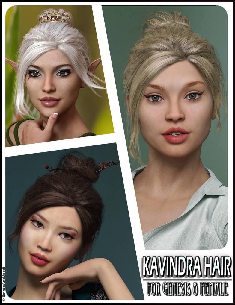 Kavindra Hair For Genesis 8 Female(s) by emmaalvarez