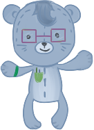 Nerdy Bear front view by Moroboshist