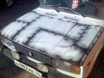 Car hood  - metal sheets and rivets by m0rg0t-Anton