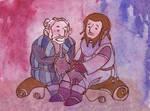 Ori and Dori knitting