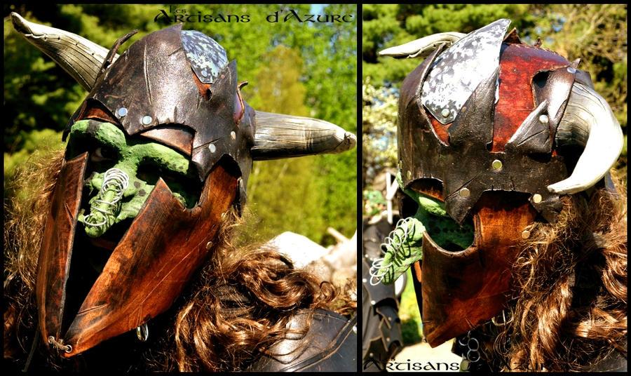 Goblin horned helmet by ArtisansdAzure