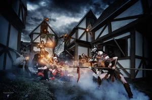 Les Heros d'Azure! The Village raid by ArtisansdAzure