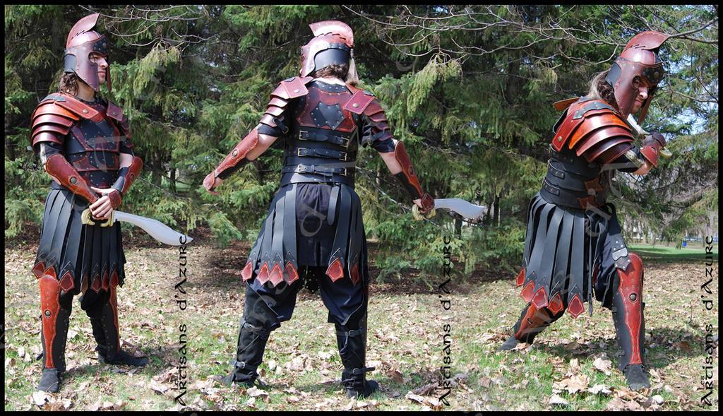 Leather Fantasy Roman LARP Armor by ArtisansdAzure