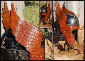 Engraved Wings Leather Helmet by ArtisansdAzure